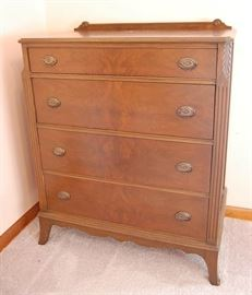 Antique Burl Mahogany Chest of Drawers