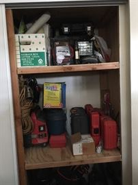 Roofers torch, battery charger, tools