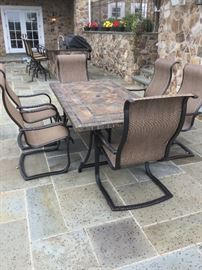 SLING BACK PATIO CHAIRS AND TABLE