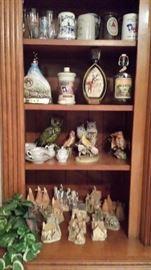 Jim Beam Decanters, David Winter Cottages, Owls, Faux Plant