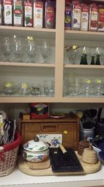 Spices, Vintage Glassware, Bread Box, Utencils, Butter Stamps - the Kitchen is packed.