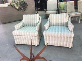 These are Ethan Allen chairs. Drastically reduced. If I don't sell them, I will just buy new fabric, take the skirts off, raise the cushion, get them reupholstered and charge much more for them!  They are in perfect condition.