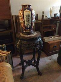 Oriental vase, carved stand, et al.