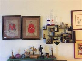 Prints, artwork, curio shelf.