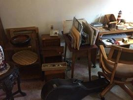Danish modern desk, chair, guitar, et al.