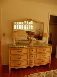 Triple dresser w/mirror w/cut glass top