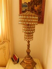 Great example of Hollywood Regency lamp. Note oil on canvas on wall French cottage.