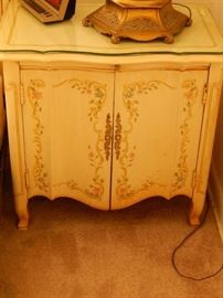 Matching night stand also with cut glass top