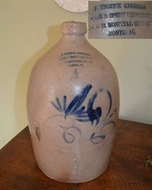 2 gallon cobalt decorated stoneware jug marked:  Frederick Kingston Wine & Spirit Merchant                               19 & 21 Hospital Street                                                      Montreal