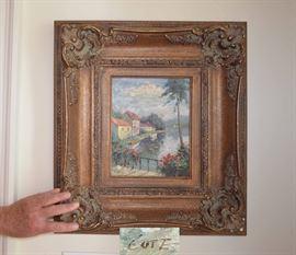signed oil painting of Italian scene