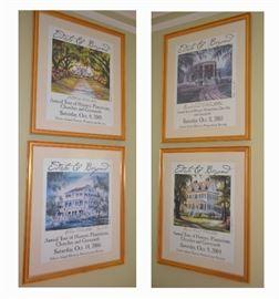 Edisto Island historic plantation prints (4 framed and 2 unframed).