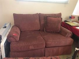 "#1	Craftsmaster redpattern loveseat  72"" Wide	 $200.00"