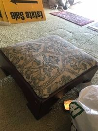 #12	Wood Upholstered Footstool  18x7	 $35.00
