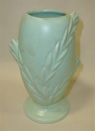 Matt green art pottery vase