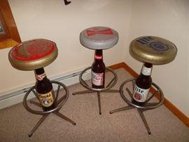 3 quirky beer breweriana bar stools