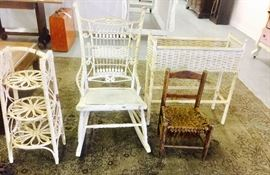 Antique wicker planter , 3 tier wicker pie stand, Antique child's chair, wicker stick and ball rocker