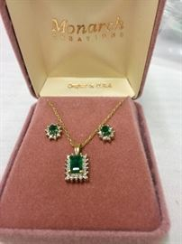 14K Emerald Cut Emerald and Diamond Pendant and Earrings