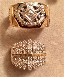 10k Gold Diamond Masonic Shriners ring