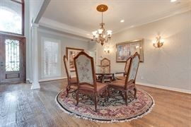 6 Henredon Dining Chairs and Glass Round Table on Wood Pedestal 66.5 inches in diameter.  Round Oriental Rug