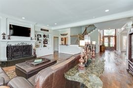Buffet table behind couch, granite top, goes great with mirror in first picture.