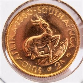 Lot 233 - Coin South African 2 Rand .2354 Gold Coin