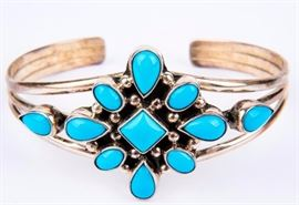 Lot 10 - Jewelry Sterling Silver Turquoise Cuff Bracelet