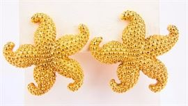 Lot 390 - Jewelry 14kt Yellow Gold Starfish Shaped Earrings