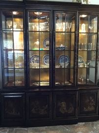 Fabulous Asian Cabinet Extraordinaire, display and storage galore, needs better photo to show the chinoiserie panels