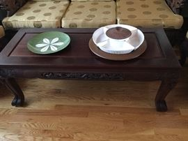 Coffee table to match living room suite of carved Chinese furniture