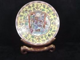 Asian Platter With Large Plate Stand
