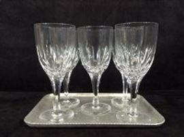 Crystal Stemware And Hand Forged Tray