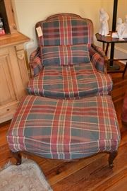 Large comfortable armchair with ottoman.