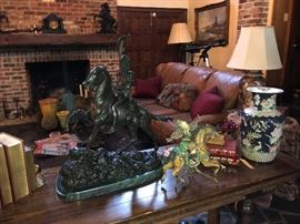 Many Remington Bronze Statues will be for sale.   Henredon leather sofa in the background.  Excellent condition.