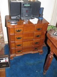 CHERRY CHEST.  STEREO NOT FOR SALE.