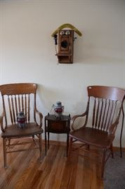 Antique Wooden Arm Chairs, Union Pacific 1935 & 1936 Glass Engraved Ruby Red Globe Railroad Lanterns, Kellogg Wooden Crank Wall Telephone