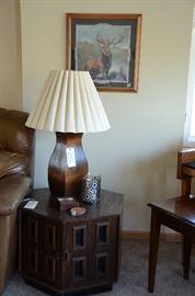 Wooden Base Lamp, Hexagonal Side Table