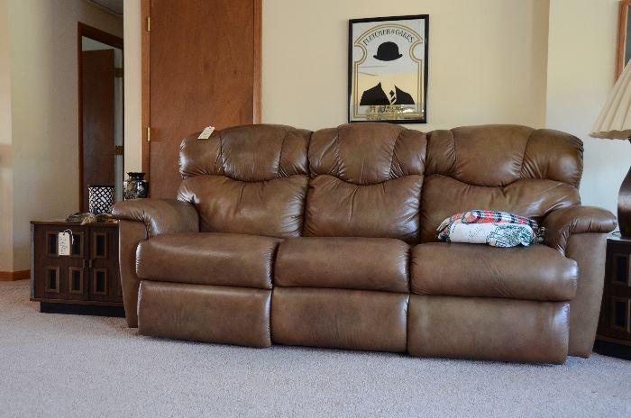 Leather La-Z- Boy Reclining Sofa, Fletcher & Oakes Mirror, Cube End Table