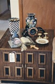 Cube End Table with Decor