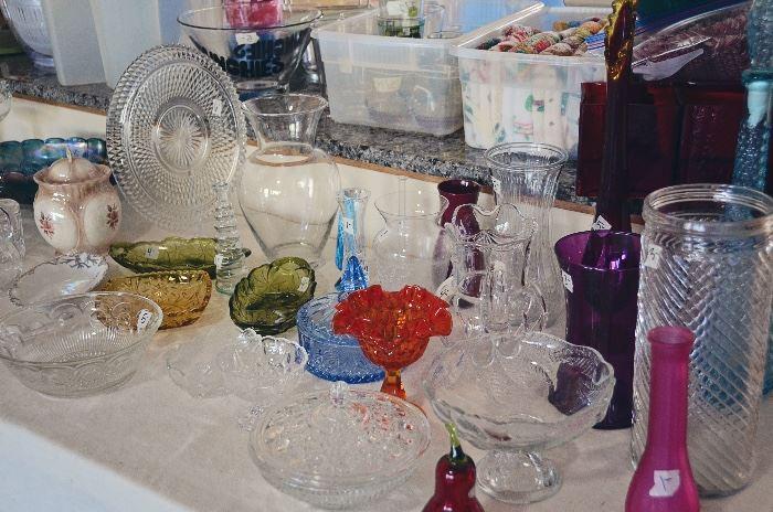Carnival Glass, Crystal, Milk Glass, Vases