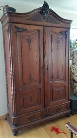 Antique French carved armoire. 1 of 2 ($1,800 each)