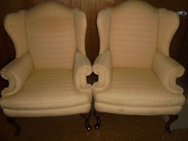 2 matching  wing back chairs