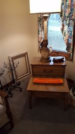 Side table, tall lamp