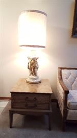 Tall lamp and great side table
