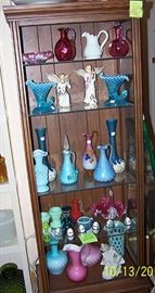 Assorted colored glass including Fenton, Mt. Washington, Imperial, etc...
