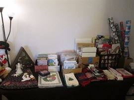 Holiday linens, cards and gift wrap