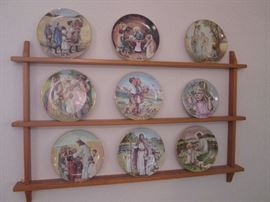 Great display shelf and religious plate collection