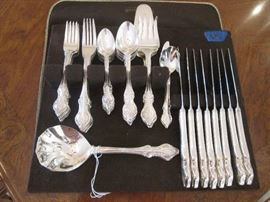 Stainless flatware, service for 8, plus serving pieces