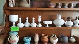 Milk glass and pottery
