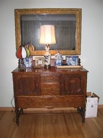 GREAT ANTIQUE OAK SIDEBOARD, GILT MIRROR AND SMALLS