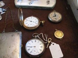 pocket watches, including 14k elgin ladies watch